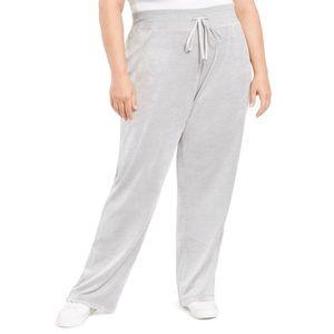 Calvin Klein Gray Velour Wide Leg Pants Plus Sz 0X